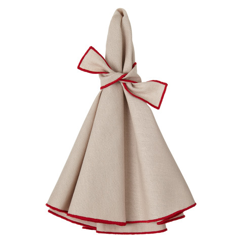 Napa Round Napkins Beige/Red 22 in round, Set of Four | Gracious Style