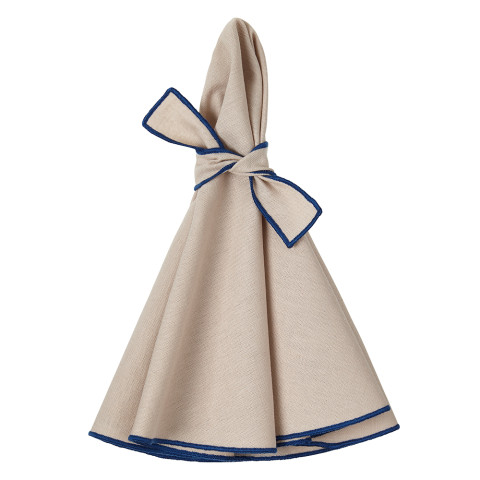 Napa Round Napkins Beige/Blue 22 in round, Set of Four | Gracious Style