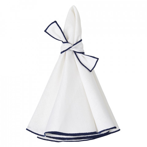 Napa Round Napkins White/Navy 22 in round, Set of Four | Gracious Style