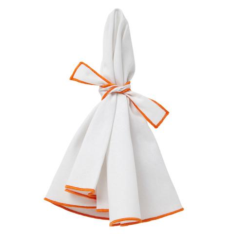 Napa Round Napkins White/Orange Hem 22 in round, Set of Four | Gracious Style