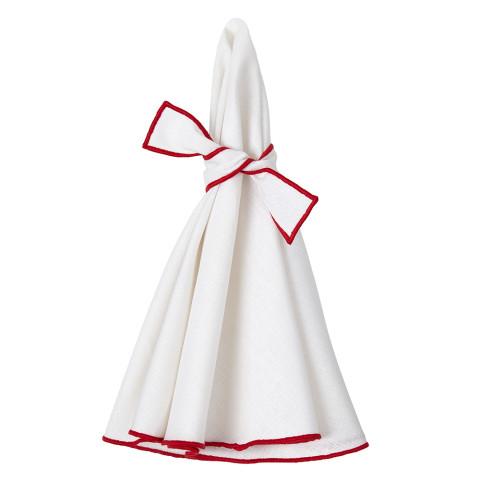 Napa Round Napkins White/Red 22 in round, Set of Four | Gracious Style