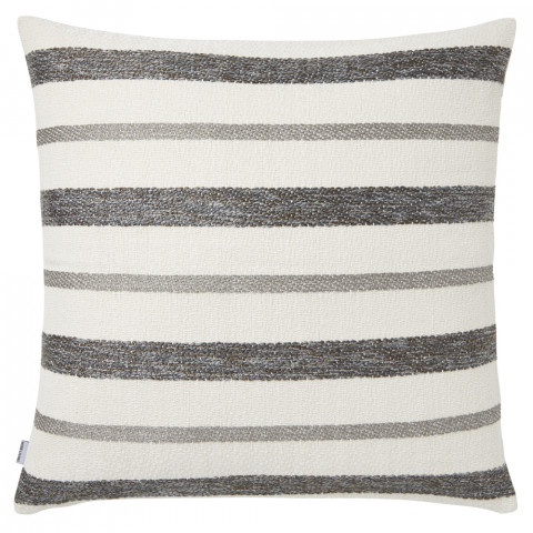 Terra 056-1 Pillow 22 x 22 in Square Striped Gray Metallic | Gracious Style