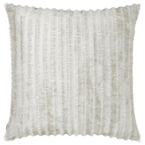 Terra 057 Pillow 22 x 22 in Square Off-White Fringe Metallic | Gracious Style
