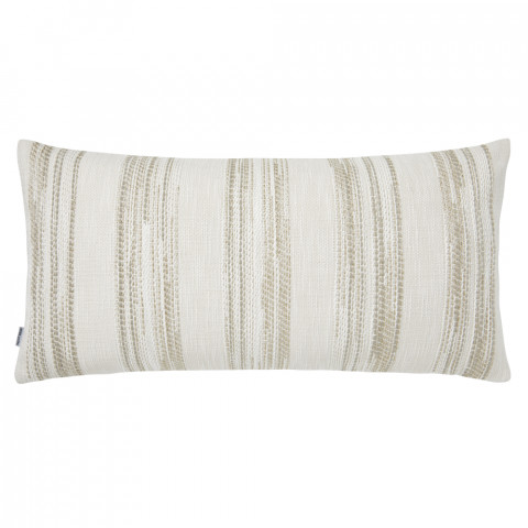 Terra 055-2 Pillow 12 x 24 in Striped Beige Metallic   Gracious Style