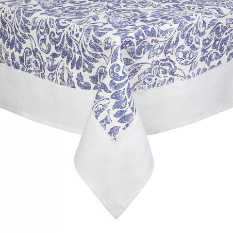 Santorini Tablecloth 70 in Round Blue and White | Gracious Style