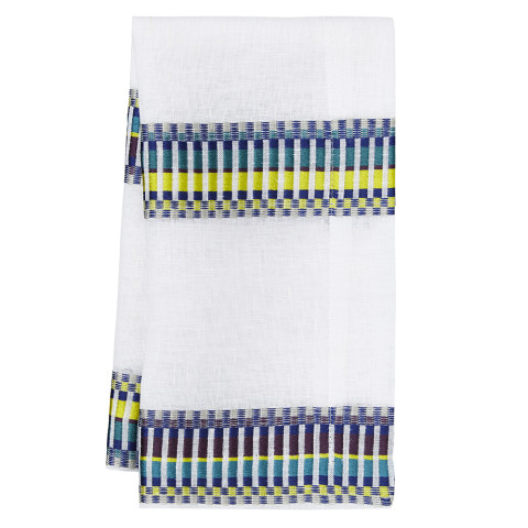 Sicily 20 x 20 in Napkins Purple, Mustard and Blue stripes on White, Set of Four | Gracious Style
