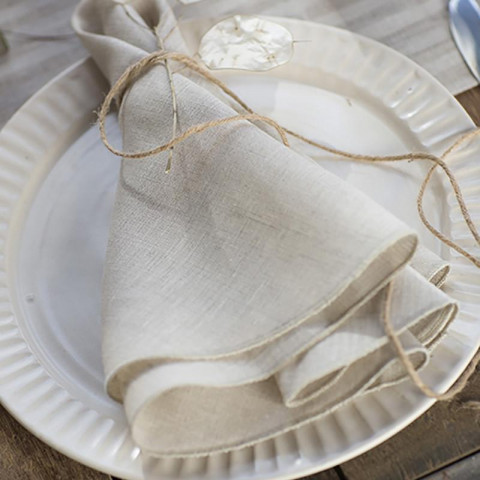 Pure Linen Round 22 in round Beige, Set of Four | Gracious Style