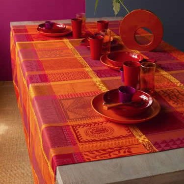 Mille Wax Ketchup Coated Stain-Resistant Damask Table Linens | Gracious Style