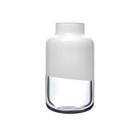 Magnolia Opal White Top, Clear Bottom Vase Medium | Gracious Style