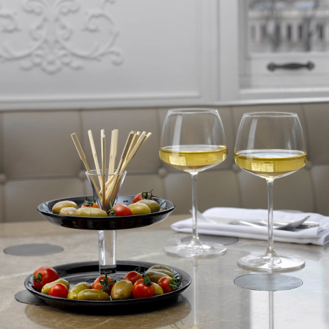 Fountain Plates Black, Stick Clear Two Tier Plate Tower | Gracious Style