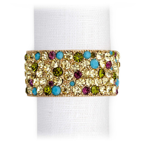 Pave Band Gold Multi Crystal Napkin Rings   Gracious Style