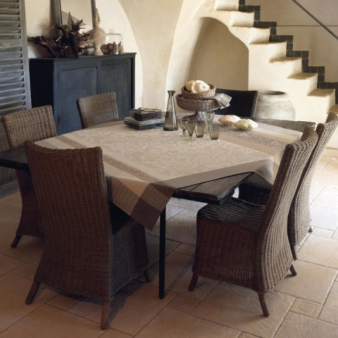 Provence Beige Coated Tablecloth Square 69 in | Gracious Style