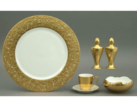 Metropolitan Gold White Dinnerware | Gracious Style