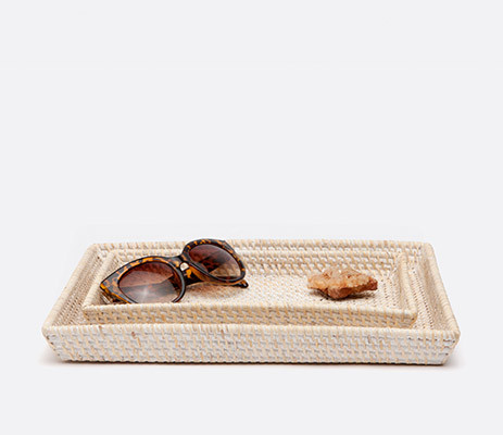 Dalton Whitewashed Nested Trays Rect Tapered Rattan | Gracious Style