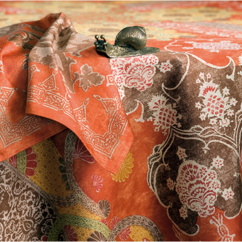 Rialto Brick Red Print Table Linens | Gracious Style