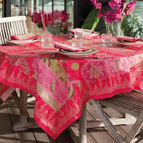 Rialto Fuchsia Print Table Linens | Gracious Style
