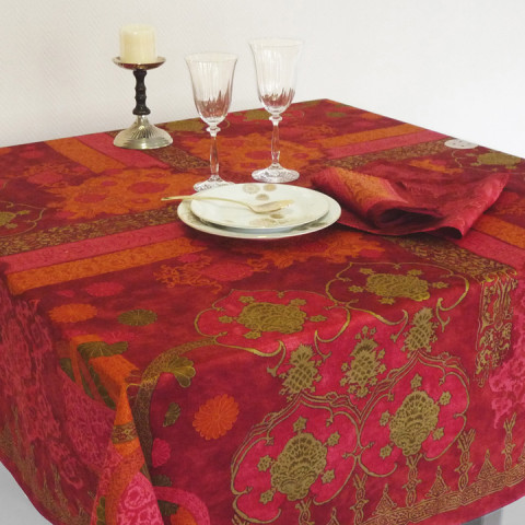 Rialto Col.3 Garnet Red 67 x 95 in Tablecloth | Gracious Style