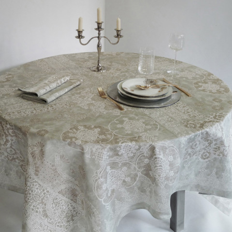 Rialto Frost Print Table Linens | Gracious Style