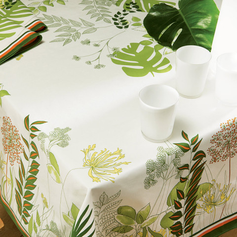 Agapanthes Col.3 Green 67 x 67 in Stain-Repellent Tablecloth | Gracious Style