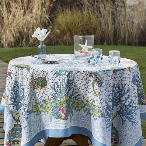 Aquarius Col.1 Original 67 x 95 in Stain-Repellent Tablecloth | Gracious Style