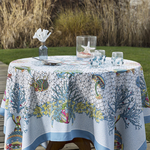 Aquarius Col.1 Original 67 x 122 in Stain-Repellent Tablecloth | Gracious Style
