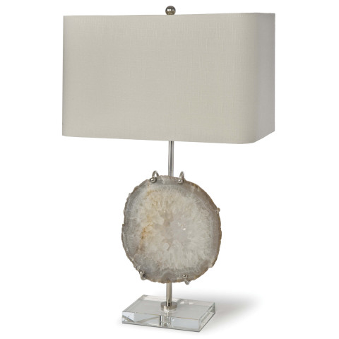 Exhibit Table Lamp, Nickel and Natural Agate | Gracious Style