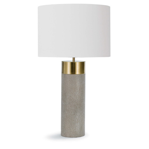 Harlow Ivory Grey Shagreen Cylinder Table Lamp | Gracious Style