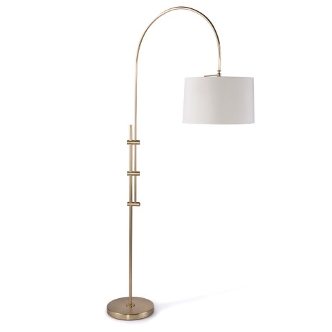 Arc Floor Lamp With Fabric Shade, Natural Brass | Gracious Style