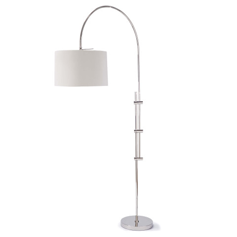 Arc Floor Lamp With Fabric Shade, Polished Nickel | Gracious Style