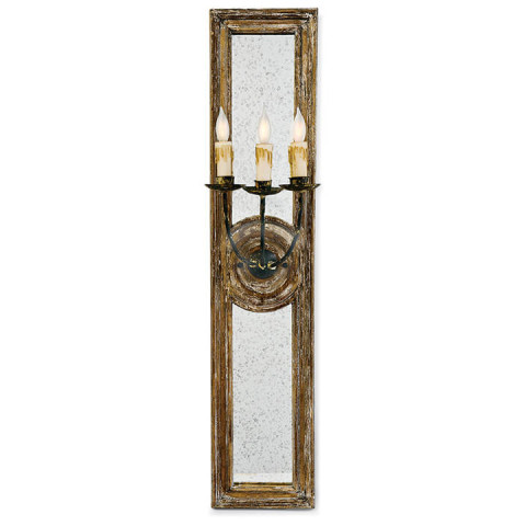 Three Arm Mirror Panel Sconce Small | Gracious Style