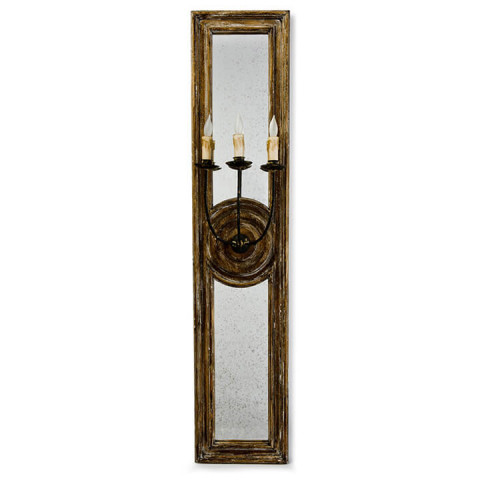 Three Arm Mirror Panel Sconce Large | Gracious Style