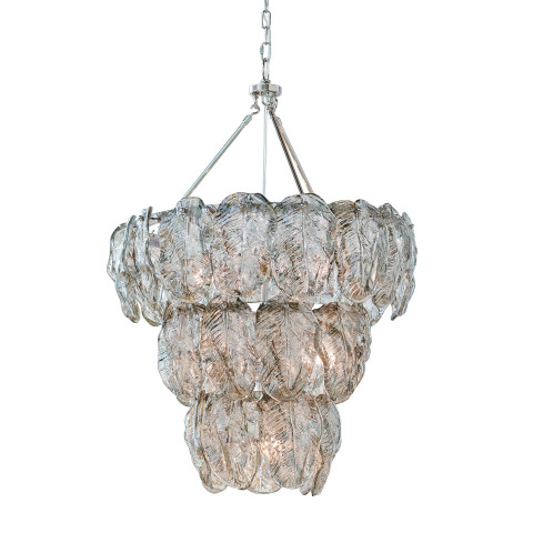 Glass Leaves Chandelier, Silver | Gracious Style