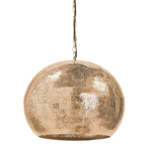 Pierced Metal Sphere Pendant, Natural Brass | Gracious Style