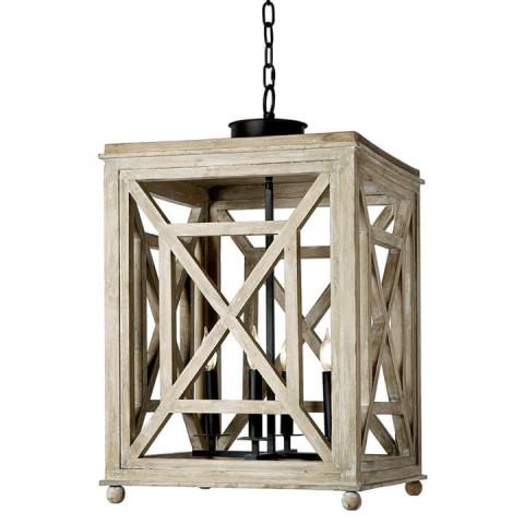 Wood Lattice Pendant Lantern | Gracious Style