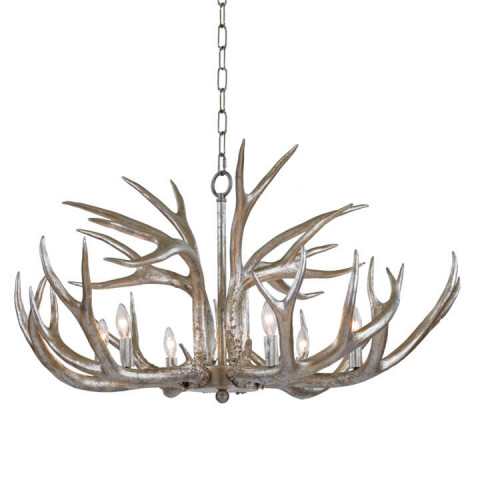 Antler Chandelier, Ambered Silver Leaf | Gracious Style