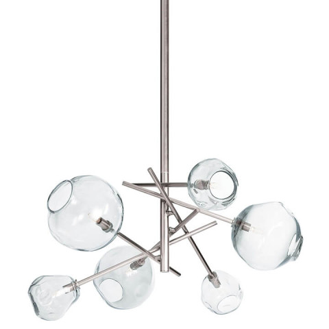Molten Chandelier With Clear Glass, Polished Nickel | Gracious Style