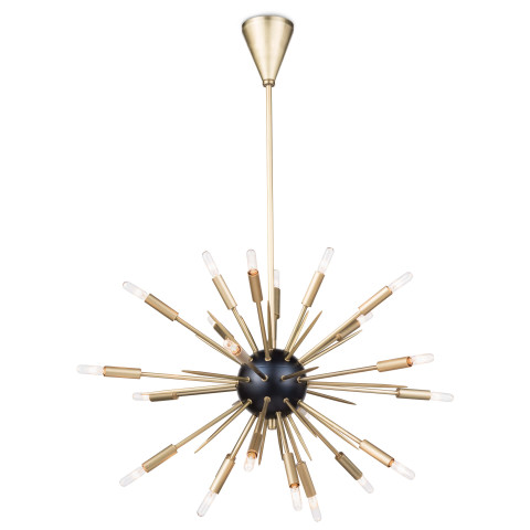 Nebula Chandelier Small, Black and Natural Brass | Gracious Style