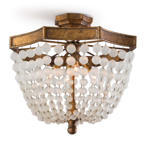 Frosted Crystal Bead Semi Flush Mount | Gracious Style