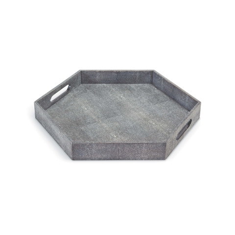 Shagreen Hex Tray, Charcoal | Gracious Style