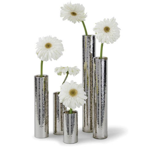 Hammered Bud Vase Set, Polished Nickel | Gracious Style