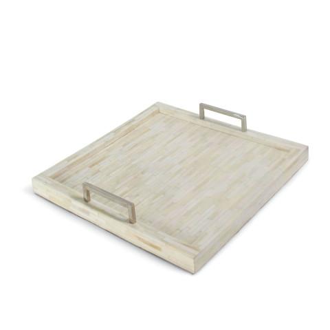 Nevis Square White Bone & Nickel Tray | Gracious Style