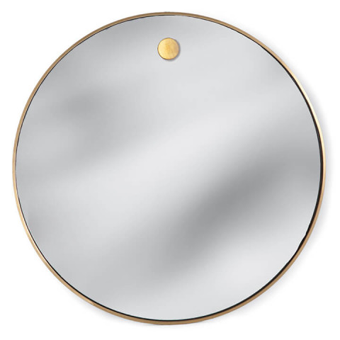 Hanging Circular Mirror, Natural Brass | Gracious Style
