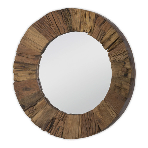 Concave Reclaimed Wood Round Mirror | Gracious Style