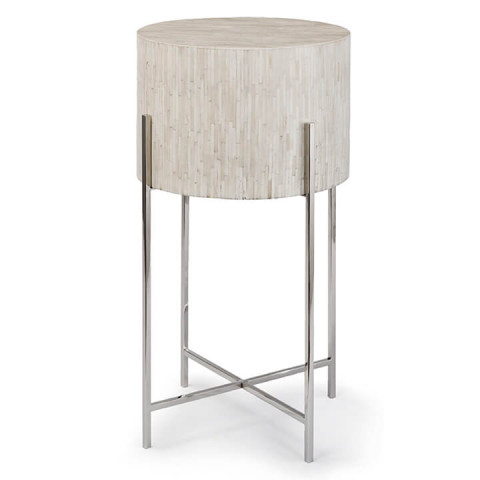 Bone Drum Side Table, Polished Nickel | Gracious Style