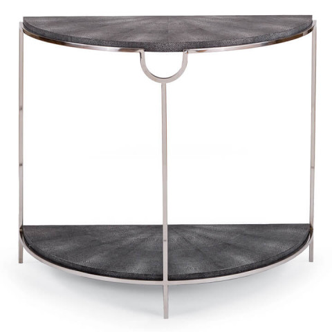 Vogue Shagreen Demilune Console, Charcoal and PN | Gracious Style
