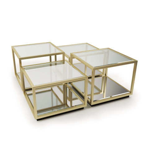 Noel Square Coffee Table Natural Brass | Gracious Style