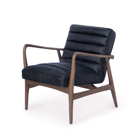 Piper Chair, Antique Black Leather | Gracious Style