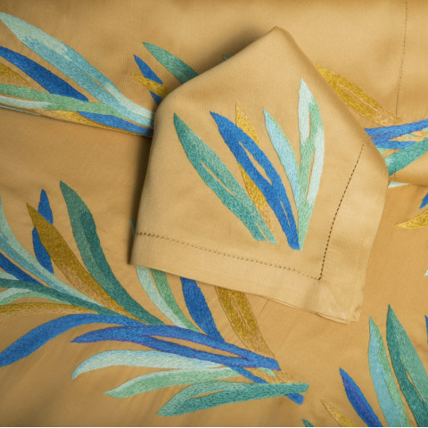 Amazonie Gold Embroidered Table Linens   Gracious Style
