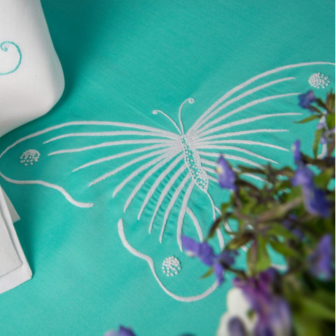 Butterflies Aqua Embroidered Table Linens | Gracious Style