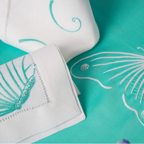Butterflies White Embroidered Table Linens   Gracious Style